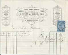 SAINT BRIEUC ETS  R CUVET BLIVET FACTURE TOILE NAPPES COTONS MOUCHOIRS PERCALE COUTILS ANNEE 1879 - Unclassified