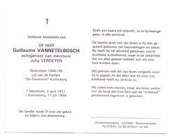 Devotie - Devotion - Guillaume Vannetelbosch - Meerbeek 1911 - Kortenberg 1996 - Verdeyen - Oudstrijder - Avvisi Di Necrologio