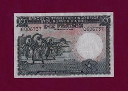 Belgian Congo 10 Francs 1952 P-14 VF++ BELGIUM ZAIRE - [ 5] Belgian Congo