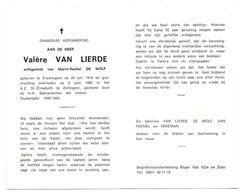 Devotie - Devotion - Valère Van Lierde - Erwetegem 1910-1989 - De Wolf - Oudstrijder - Avvisi Di Necrologio