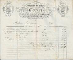 SAINT BRIEUC ETS  R CUVET FACTURE TOILE NAPPES COTONS MOUCHOIRS PERCALE COUTILS FLANELLE LAINE ANNEE 1856 - Unclassified