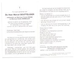 Devotie - Devotion - Marcel Bouttelisier - Zarren 1910 - Roeselare 1992 - Roose - Vermeulen - Oudstrijder - Obituary Notices