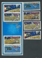Cook Islands 1972 Hurricane Relief Overprint On Apollo Moon Landing Set Of 4 Pairs & Miniature Sheet MNH Space - Cook Islands