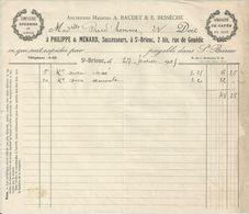 SAINT BRIEUC PHILIPPE MENARD CONFISERIE SPECIALITE DE CAFE ANNEE 1925 - Unclassified