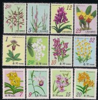 Complete Set Of 12v Taiwan 2007 Orchid Series Stamps Flower Flora - 1945-... Republic Of China