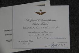 Carte De Voeux Adressée Par La Général D'Armée Aérienne André MARTIN, En 1964. - Announcements