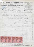 """Facture Garage """"Comptoir Automobile De L'Est"""" VINCENNES Du 14 Sept 1950 Avec Bande 6 Timbres Fiscaux 1fr80 Rose (n°126) - Automobile"""