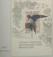 P6 Paintings - Russia CCCP 1989 Yv. BF210 MNH Minisheet -  Nature Preservation - Hirundo Rustica Bird - 1923-1991 URSS