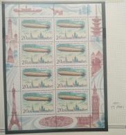 "P6 Paintings - Russia CCCP 1991 Yv. 5881 MNH FULL SHEET - Airships, 20K ""Graf Zeppelin"", 1928 - 1923-1991 URSS"