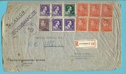 434+435+693+696 Op Brief (port 143Fr)!!!! Aangetekend PAR AVION Stempel ANTWERPEN Naar ARGENTINE - 1936-1951 Poortman