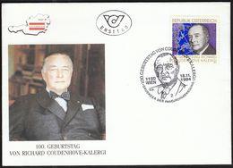 Austria Vienna 1994 / Richard Coudenhove - Kalergi / Founder Of The Pan-European Movement / FDC / Cancel No. 2 - Europäischer Gedanke