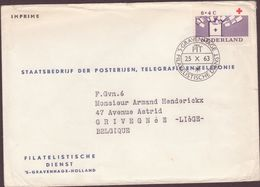 ENVELOPPE TIMBRE 1963 S GRAVENNAGE  TIMBRES ET CACHETS CROIX ROUGE - Covers & Documents