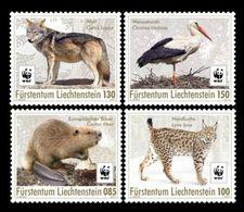 Liechtenstein 2017 Mih. 1875/78 Fauna. WWF. Returnees. Beaver. Lynx. Wolf. Stork MNH ** - Liechtenstein