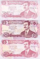 IRAQ 5 DINARS 1992 P-80 LOT X3 UNC NOTES DIFFERENT COLORS - Iraq