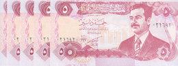 IRAQ 5 DINARS 1992 P-80 LOT X5 UNC NOTES LOT */* - Iraq