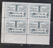 CANADA Scott # 382 MH In Selvege - 200th Anniversary Of Nova Scotia Block Of 4 - Unused Stamps