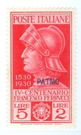 PATMO, PATMOS, ITALIA, ITALY, EGEO, FERRUCCI, 1930, FRANCOBOLLO NUOVO (MLH*), 5 L. Sass. 16   Scott 16 - Egeo (Patmo)