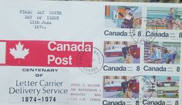 L) 1974 CANADA, CENTENARY OF THE LETTER CARRIER DELIVERY SERVICE - SERIES STAMPS, PEOPLE, CARS, WORKING, MULTIPLE STAMPS - First Day Covers