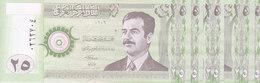 IRAQ 25 DINAR 2001 2002 P-86 LOT X5 UNC NOTES */* - Iraq