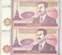 IRAQ 10000 DINARS 2001 2002 P-89 LOT X2 UNC NOTES DIFFERENT COLORS - Iraq