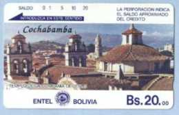 BOLIVIA : BOLTE02 Bs  20 Cochabamba  /Grey Reverse. USED  Littel Crack In The Middle Of Card - Bolivia