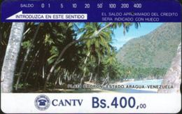 VENEZUELA : VEND05A Bs. 400 Playa Chorini Brown Reverse No Pictures USED - Venezuela