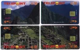 PERU : PTE-028P Machu Pichu Set Of 4 Puzzle Cards USED - Peru