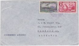 COSTA RICA 1937 AIRMAIL COVER FRANKING SAN JOSE TO GERMANY - Costa Rica