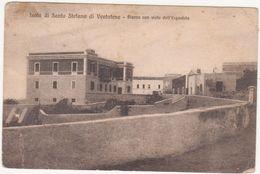 M345 ISOLA DI SANTO STEFANO DI VENTOTENE PIAZZA CON VISTA DELL'ERGASTOLO LATINA 1922 - Latina