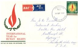 (905) New Zealand First Day Cover - FDC - Nouvelle Zélande - 1968 - Human Right + NAC Air Mail Sticker - FDC