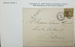 O) 1889 PANAMA, COLOMBIA OFFICE IN PANAMA, PANAMA TO BORDEAUX, FRANCE BACKSTAMP OF THE FRENCH CONSULATE, VIA NEW YORK, - Panama