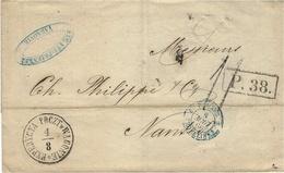 1866- Cover From VARSOVIE To Nantes ( France ) Rating 11 D  + P.38  + EXPEDYCYA POCZT W WAGONIE - Polen