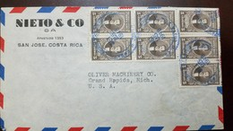 O) 1948 COSTA RICA, MULTIPLE COVER- SALVADOR LARA 5 CENTIMOS SEPIA SCOTT A109, TO USA, XF - Costa Rica