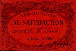 TEMOIGNAGE DE SATISFACTION     EN 1946  Mme COLETTE DUEE - Diplômes & Bulletins Scolaires