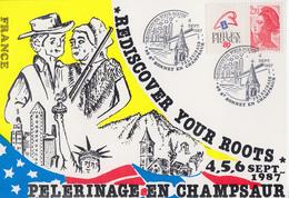 Carte  Pélerinage  En  CHAMPSAUR    SAINT  BONNET  EN  CHAMPSAUR   1987 - Postmark Collection (Covers)