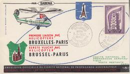 Enveloppe  BELGIQUE   1ére    Liaison   Par   Hélicoptére   BRUXELLES - PARIS    1957 - Hélicoptères