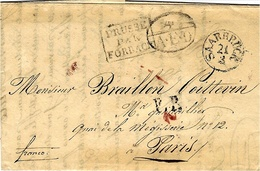 """1830- Letter From SARRBRUCK   To Paris ( France ) Black P.P.  + 4 / A.E.D.  + PRUSSE /PAR:FORBACH +""""franco - Deutschland"""