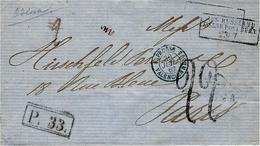 1862- Letter From ODESSA To Paris  - Aus Russland / Eisenb.  ... V Der Linden 320 + P.33  + Rating Tampon 22 - 1857-1916 Empire
