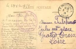 CACHET MILITAIRE GUERRE 14-18 - POUR LA GRAND CROIX 42 - CPA  EUVILLE - Postmark Collection (Covers)