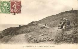 TIMBRE TYPE BLANC 111 + SEMEUSE  10C - 189  - 1932   CPA  GRANVILLE - LE SENTIER DU TOUR DU ROC - Postmark Collection (Covers)