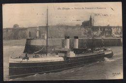 """DIEPPE - STEAMER 'FRANCE"""" - SEINE MARITIME / 1906 CPA VOYAGEE GB  POUR ERSTEIN - ALSACE (ref LE1969) - Dieppe"""