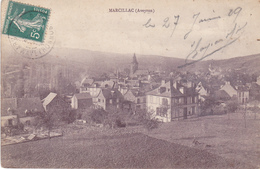 MARCILLAC EN AVEYRON   VUE GENERALE DU BOURG  CPA  CIRCULEEE - France