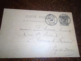 1890- ENTIER Au TYPE SAGE - OBL/ St ETIENNE Pour CLERMONT FERRAND -2 Photos - Postmark Collection (Covers)