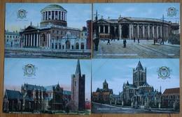 Dublin - 4 CPA - Four Courts - St Patrick's + Christchurch Cathedral - Bank Of Ireland - City Arms / Blason - (n°9795d) - Dublin