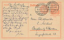 DRESDEN  -  18.5.1922 , Ganzsache Nach Oberplanitz / Zwickau - Germany
