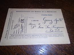 1914- Pour COTE D' OR - ARMEE ( Avec FRANCHISE POSTALE) Pour St SEINE Sur VINGEANNE -2 Photos - Storia Postale