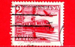 SPAGNA - Usato - 1948 - Giornata Del Francobollo - Ferrovie - Treno - Railways - Posta Aerea - 2 - Usati