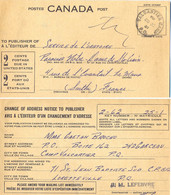 CANADA POST  CHANGE OF ADDRESS NOTICE TO PUBLISHER  TàD VALCARTIER CAMP 28 XI 61 - Canada