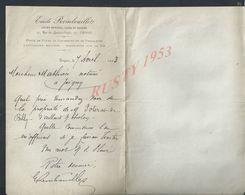 LETTRE DE EMILE REMBOUILLET À TROYES 1893 : - Manoscritti