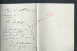 LETTRE DE E PHILOCHE NOTAIRE À CHATEAU DU LOIR  1893 : - Manuscripts